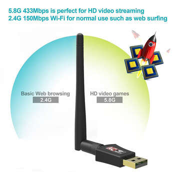 TV Stick Wifi Adapter USB Dual Band 600Mbps 5/2.4 Ghz Antena LAN Dongle for Windows XP Win 7 8 10